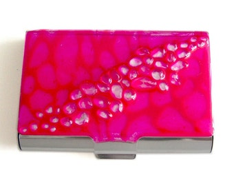 Large Metal Card Case Recycled Glass Inlaid in Hand Painted Fuchsia Enamel Metal Wallet with Personalized and Color Options