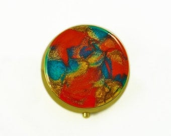 Round Pill Box Hand Painted Enamel in Orange and Turquosie Gold Plated Pill Case in a Glossy Finish Custom Colors and Personalized Option