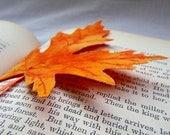 Fall Orange and Yellow Leaf Fabric Bookmark