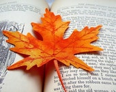 Maple Leaf of Orange Fall Fabric for Bookmark or Decor