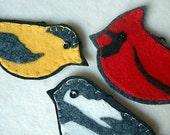 Set of Three Embroidered Felt Wild Bird Ornaments, Cardinal, Chickadee and Finch