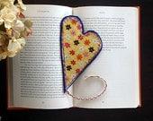 Valentine Heart Bookmark Flowers Fabric