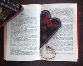 Bookmark Heart Black Oriental Satin with Red Flowers