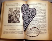 Valentine Heart Bookmark - Classy Black and White Flower Fabric Book Mark - Ready to Ship