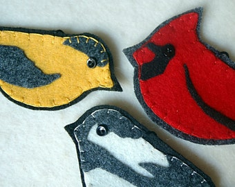 Set of Three Embroidered Felt Wild Bird Ornaments, Cardinal, Chickadee and Finch
