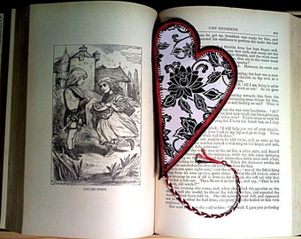 CLEARANCE Bookmark Heart Shaped Quilted