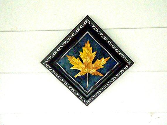 Framed Fall Maple Leaf Yellow Fabric Decor