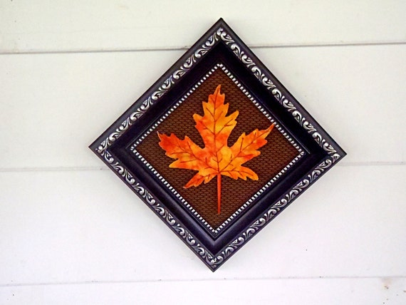 Framed Orange Maple Leaf Fabric Home Decor