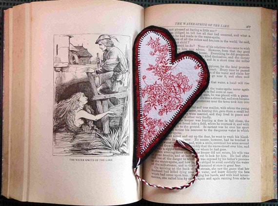 CLEARANCE Heart Bookmark, Red Flowers Toile