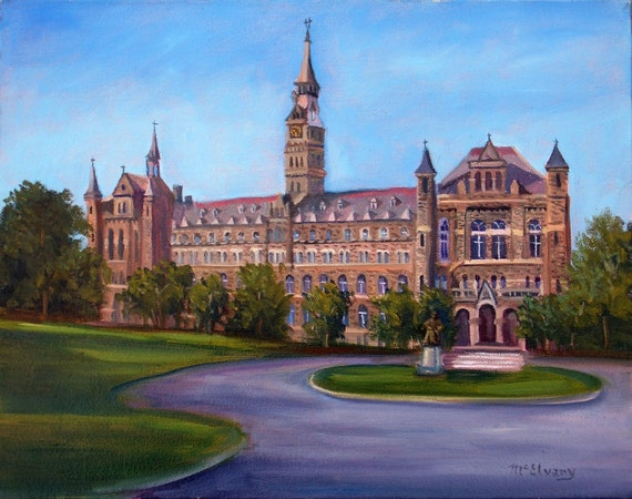 Framed Giclee of The Healy Building at Georgetown University