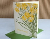 Daffodil thank you notes, merci beaucoup (set of 6) - Letterpress printed