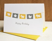 Farm Animal Flags Happy Birthday - Letterpress Greeting Card