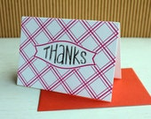 BBQ Picnic Plaid Letterpress Thank Yous with hand-drawn lettering (set of 6) - Pink and Orange / SALE!!