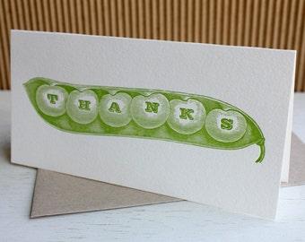 Pea pod thank you notes - Garden veggie notes, letterpress thank you notes (set of 6)