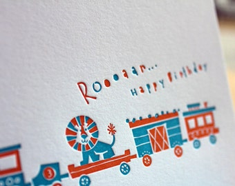 Lion Train Kids Happy Birthday - Letterpress Greeting Card