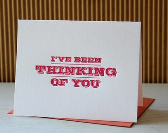Letterpress Valentine Card -  I've Been Thinking of You