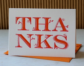 Letterpress Thank you notes -  Girly ornate, for bridal or baby shower  (set of 6)