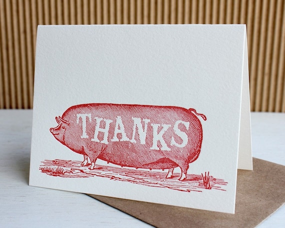 Big red pig thank you notes -  Letterpress notes (set of 6)