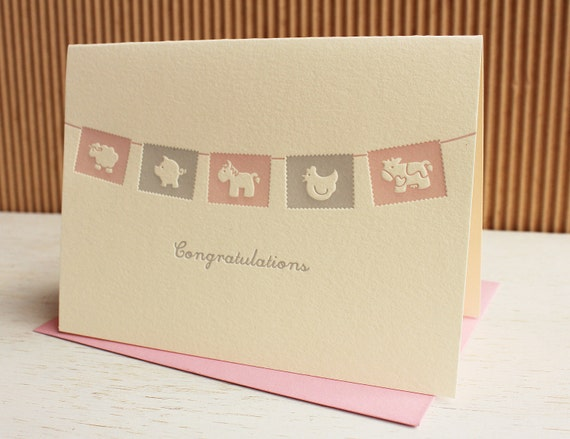 Baby Flags Congratulations Card - Pink Girl or Blue Boy / SALE!!