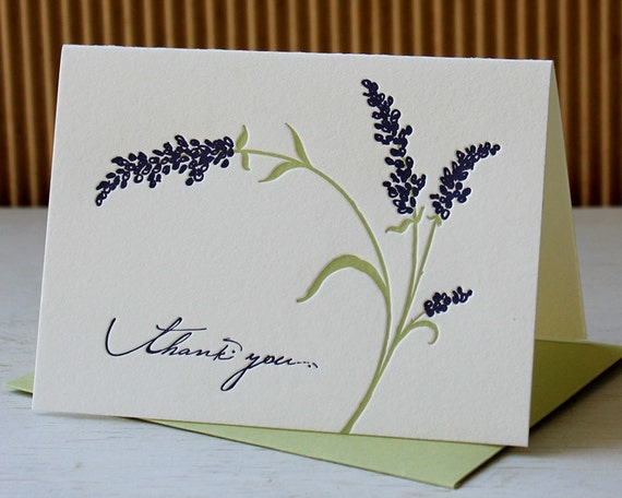 Letterpress Thank you notes - Blue Salvia, Lavender, charming summer flowers (set of 6)