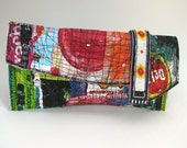 Clutch Bag Upcycled Brightly Colored Red Green Blue Yellow One of a Kind