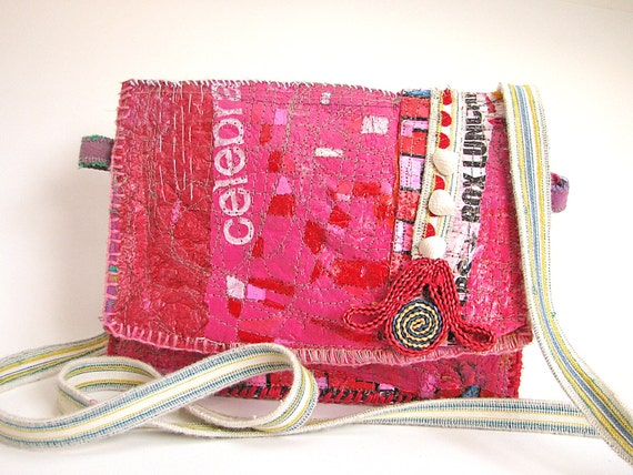 Cross-the-Body Bag Pink Upcycled One of A Kind for the Free-Spirited