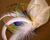 DENISE Jeweled White Bridal Peacock Feather and Botanical Skeleton Leaves Hair Fascinator Clip