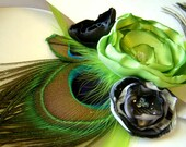 Peacock Corsage & Boutonniere Bridal Party Set  Margarita Lime Satin Flower Set