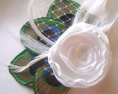 Crisp White Rose Peacock Hair Clip Sweet Bridal MADAME BLANCHE with French Netting Veil