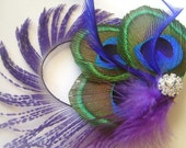 Peacock Feather Clip w/Peacock Sword Purple and Perwinkle Elegant Rhinestone Bridal Wedding Fascinator Clip
