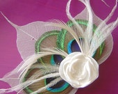 Bridal Peacock Feather Hair Fascinator Clip Skeletone Leaves and Petite Ivory Rose Ready To Ship
