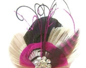 PINK TIE Peacock Feather Hair Fascinator Clip Black White and Fuchsia with Pink Grizzly Feather