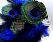 Peacock Hair Fascinator Clip COBALT BLUE Perfect for a Fall Bride or Bridesmaids