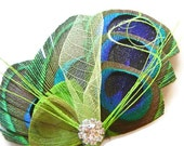 Peacock Feather Hair Clip Lime MARGARITA BUTTERFLY Feather and Rhinestone Wedding Hair Fascinator Clip Bridal Party