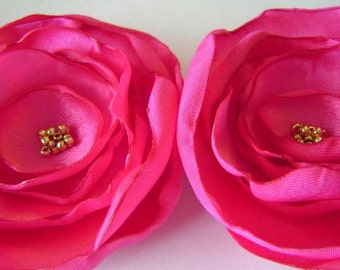 Shocking Pink Silky Satin Poppy Pins Wedding Bobby pin set Bridal Party