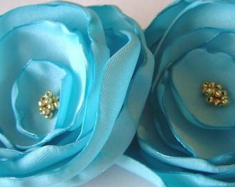 Wedding Bridal Party Teal Blue Satin Poppy  Pins