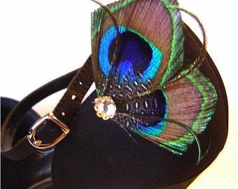Elegant Peacock Feather Rhinestone Wedding Party Shoe Clips