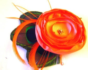 JENNIFER Peacock and Flower Hair Fascinator Clip in SUNKIST Orange Wedding Perfect for Bridal Party
