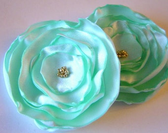 Pale Mint Satin Rose Peony Poppy Pins Bobby pin Bridal Set