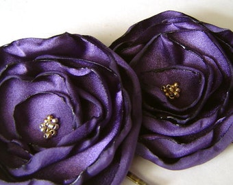 Flower Hair Pins in Iced Plum Satin Poppies  Flower Bobby Pin Set Perfect for a Wedding Party