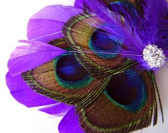 Purple Princess Peacock Feather Bridal Hair Clip Wedding Party Fascinator Clip