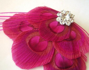 Fushcia Pink Layered Bridal Peacock Feather Clip with Rhinestone Cluster ROSELYN Wedding Fascinator Hair Clip