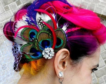 MARGARET Elegant Bridal Peacock Feather Hair Fascinator Clip Your Colors Made To Order