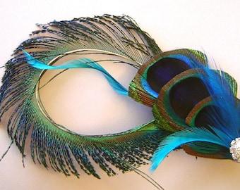 Triple Peacock Feather and Sword Hair Clip w/ Rhinestone Bridal Wedding Fascinator Bridesmaid Maid of Honor
