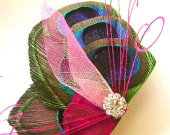 Peacock Feather Hair Clip PINK BUTTERFLY Feather and Rhinestone Wedding Hair Fascinator Clip Bridal Party