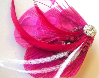 Peacock Feather Hair Clip PINK PASSION Feathers and Rhinestone Wedding Party Hair Fascinator Clip