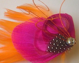 Peacock Feather Hair Clip PINCH of TANGERINE Rhinestone Wedding Hair Fascinator Clip Bridal Party