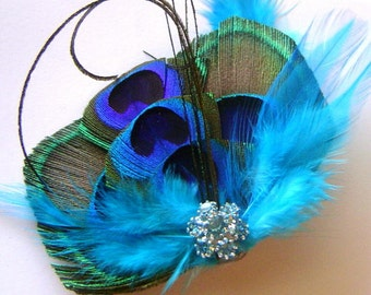 Peacock Hair Fascinator AQUA AFFECTION Perfect for a Fall Bride or Bridesmaids Rhinestone and Feathers