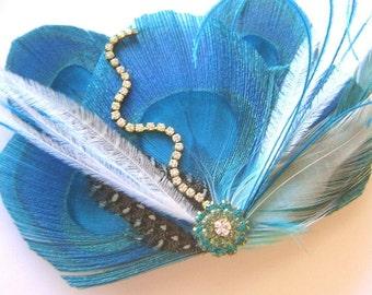 SALE PARISIAN NIGHTS Pink Peacock Feather Bridal Hair Fascinator Clip with Trailing Rhinestones, Vintage Jewel Ooak Skeletone Leaf