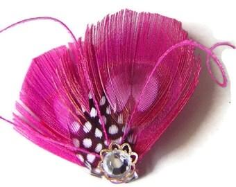 LYNN in Fuchsia Pink Peacock and Guinea Feather Rhinestone Hair Wedding Fascinator Clip Bobby Pin Ready to Ship
